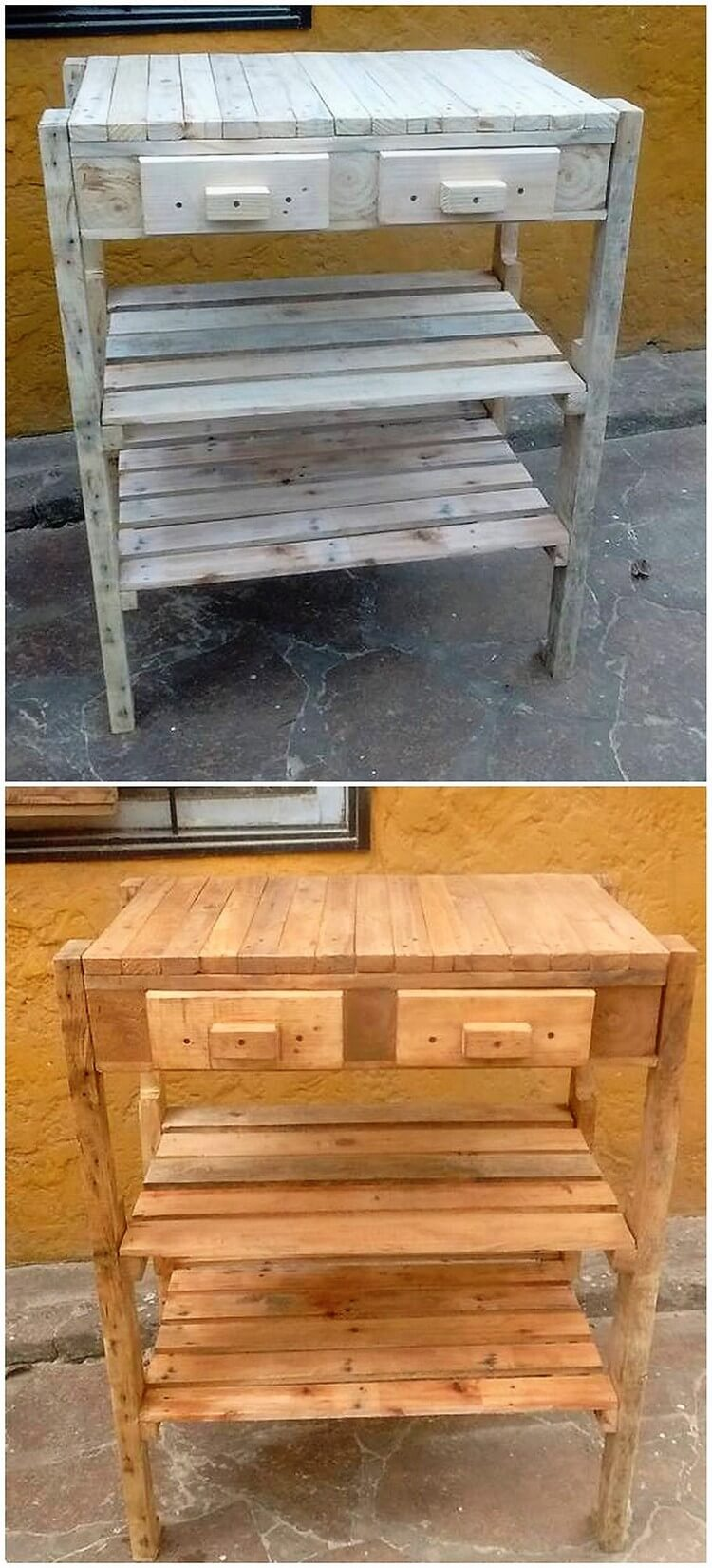 Recycled Pallet Table with Drawers