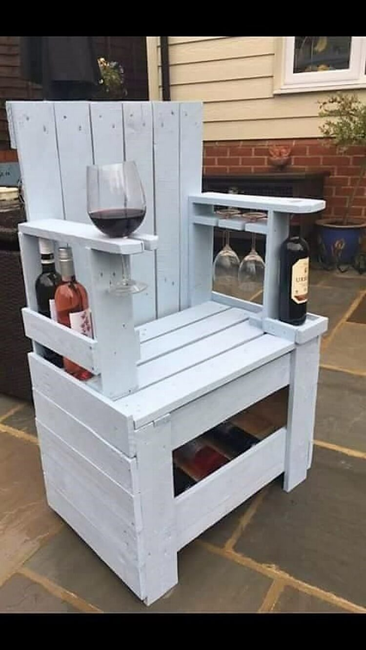 Unique Pallet Chair with Wine Racks and Glass Holders
