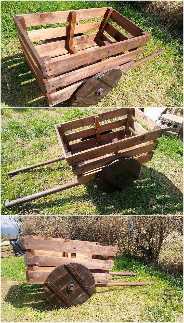 Cheap creations with old shipping wood pallets pallet for Woodworking cart