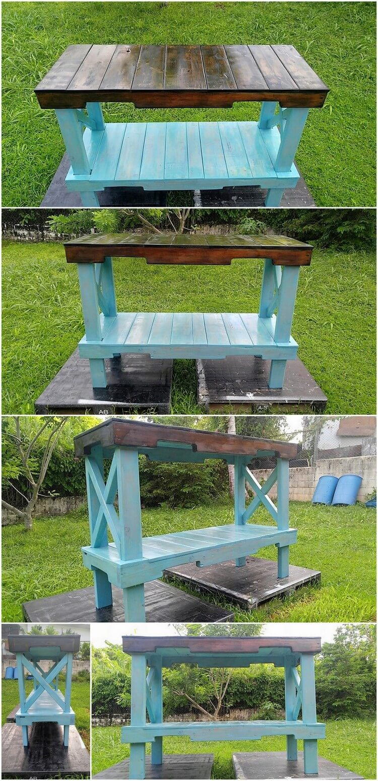 Wood Pallet Laundry Room RackTable