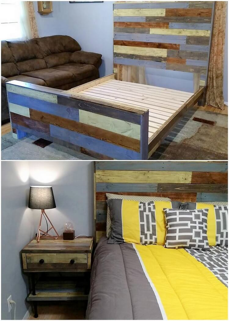 Wooden Pallet Bed Frame with Side Table
