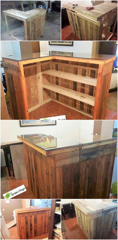DIY Pallet Counter Table Reception Desk