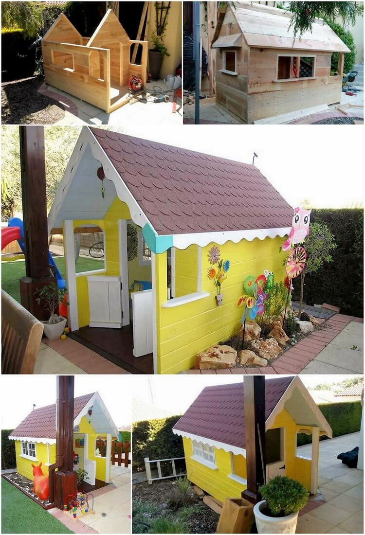 DIY Pallet Kids Playhouse Step by Step Plan