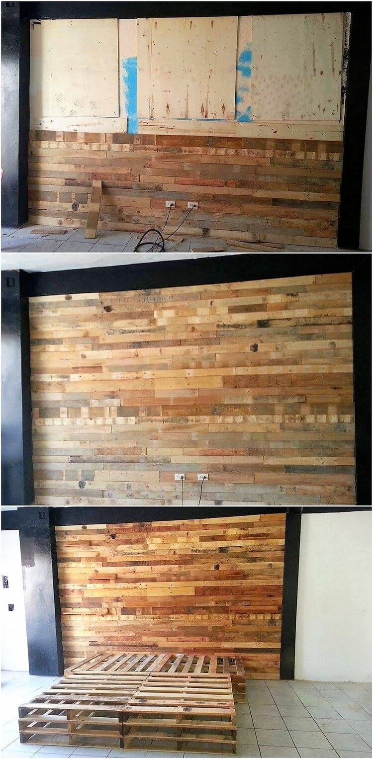 DIY Pallet Wall Paneling and Bed Frame