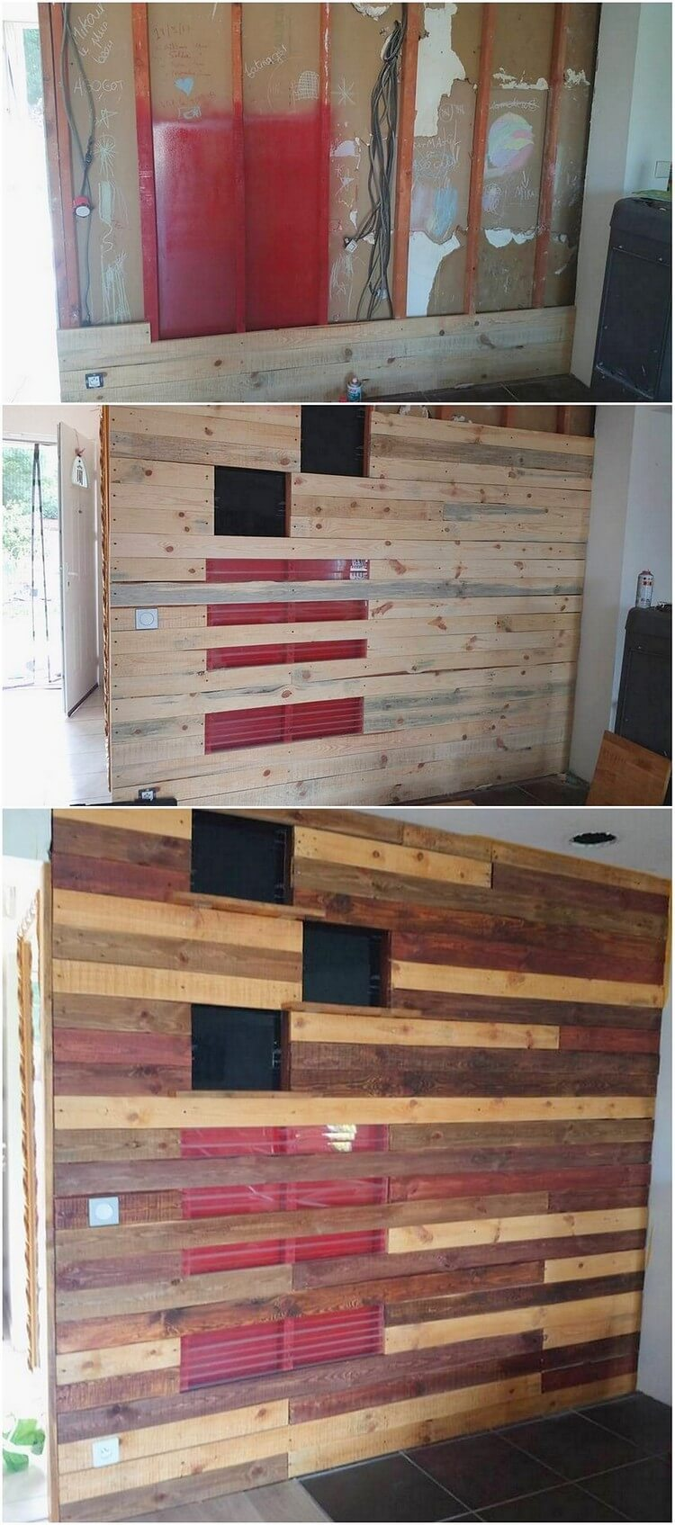 Pallet Wall Paneling : Awesome and easy wood pallet repurposing ideas