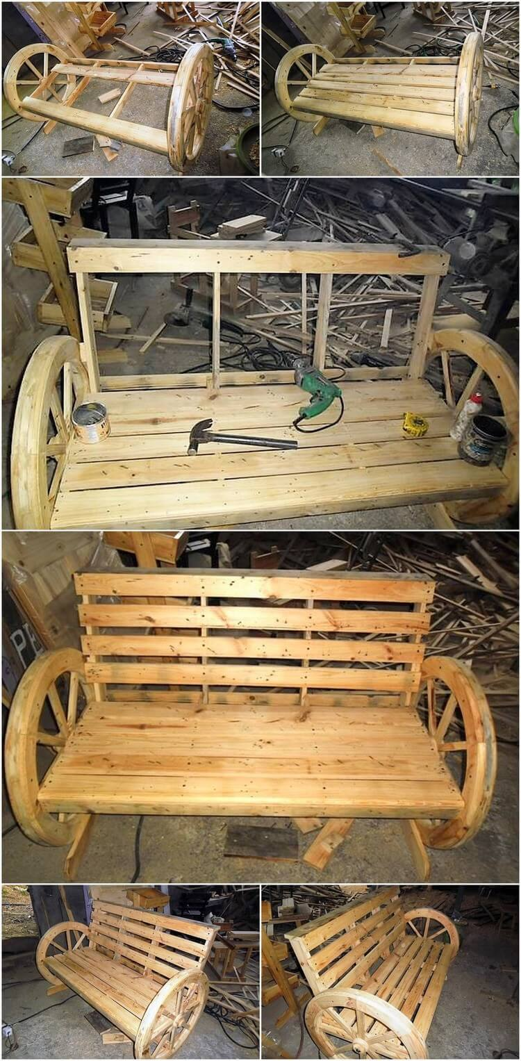 DIY Wood Pallet Bench with Round Wheels