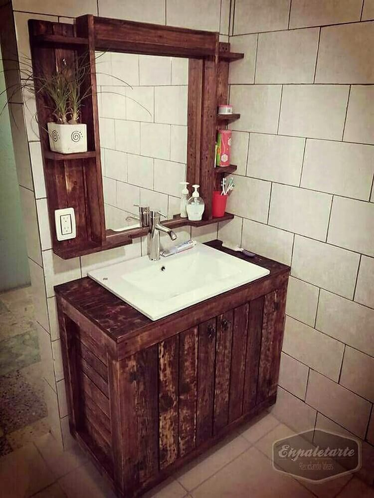 Pallet Bathroom Sink and Mirror with Shelves