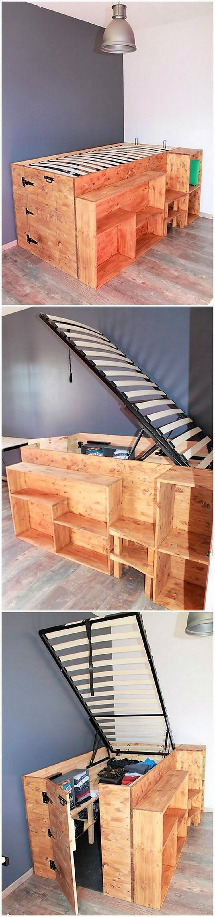 Pallet Bed with Storage (2)