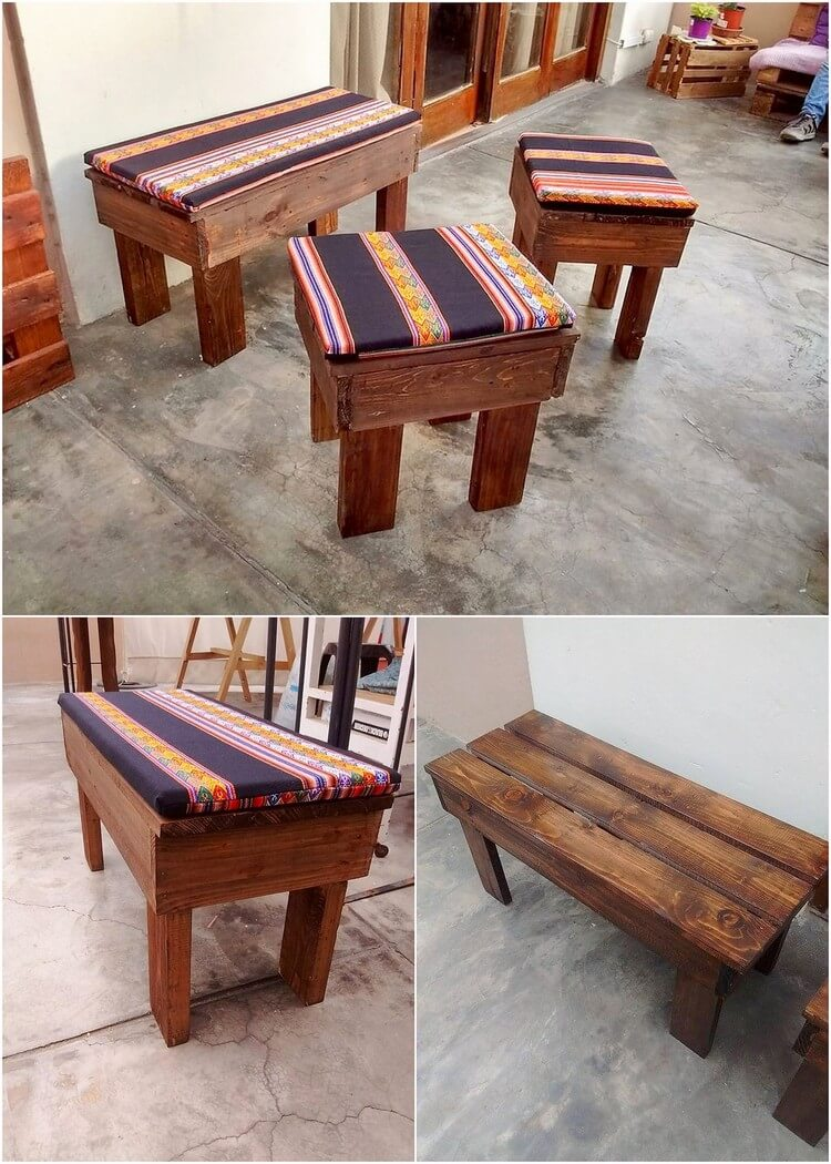 Pallet Bench and Stools
