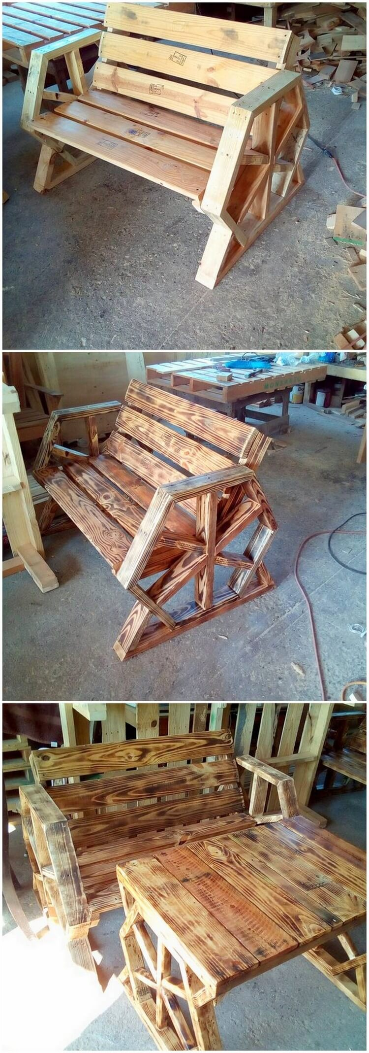 Pallet Bench and Table (2)
