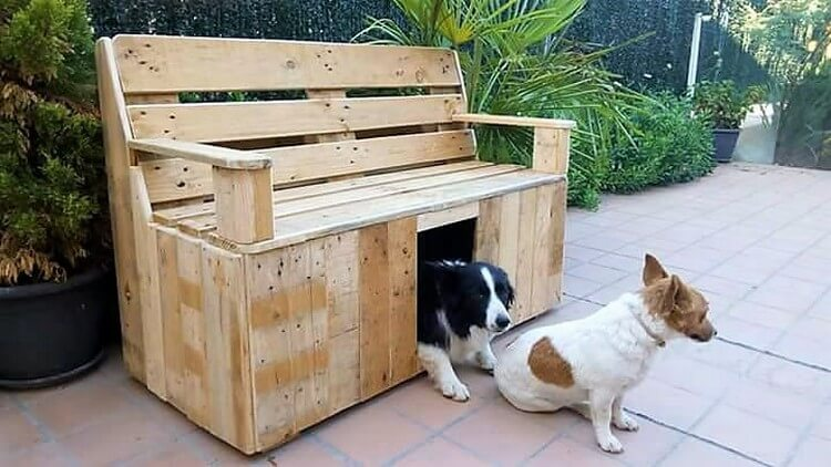 Pallet Bench with Dog House