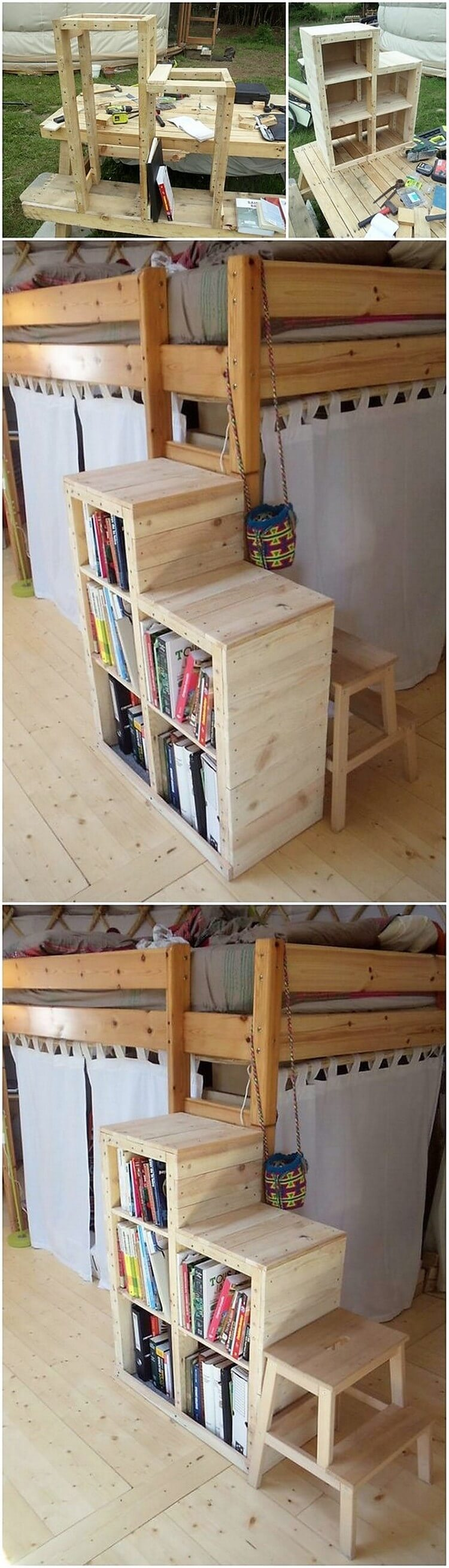 Pallet Bookshelf Stairs