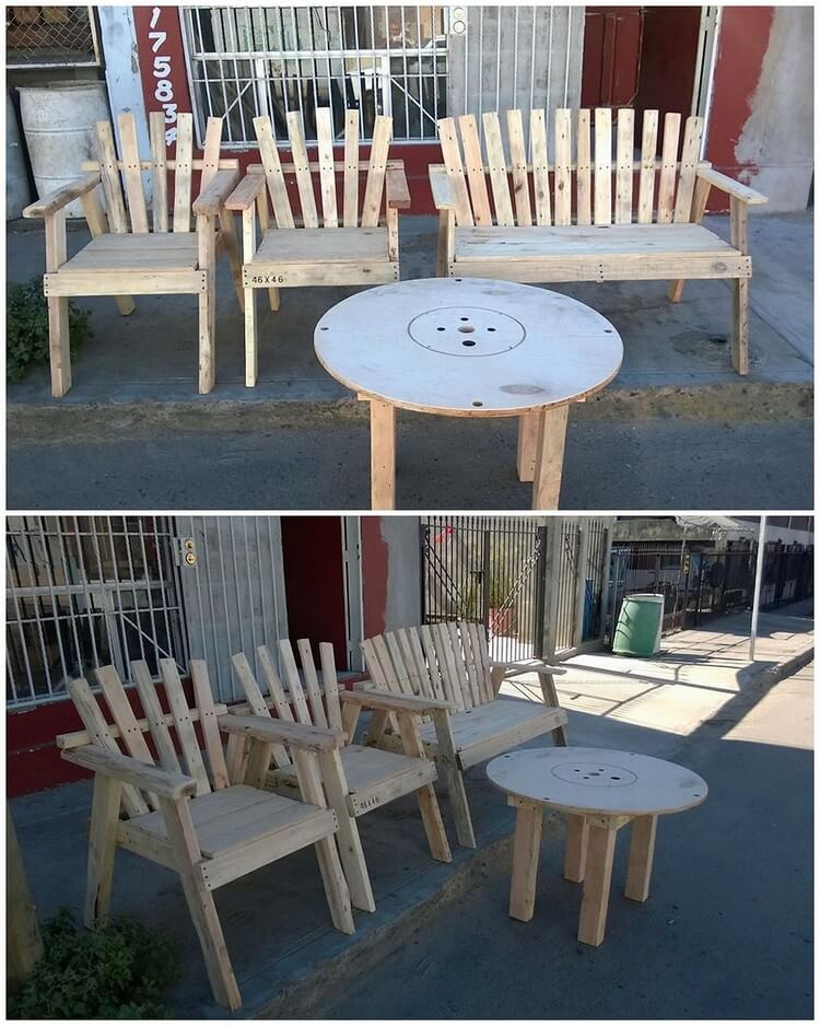 Pallet Chairs, Bench and Round Table