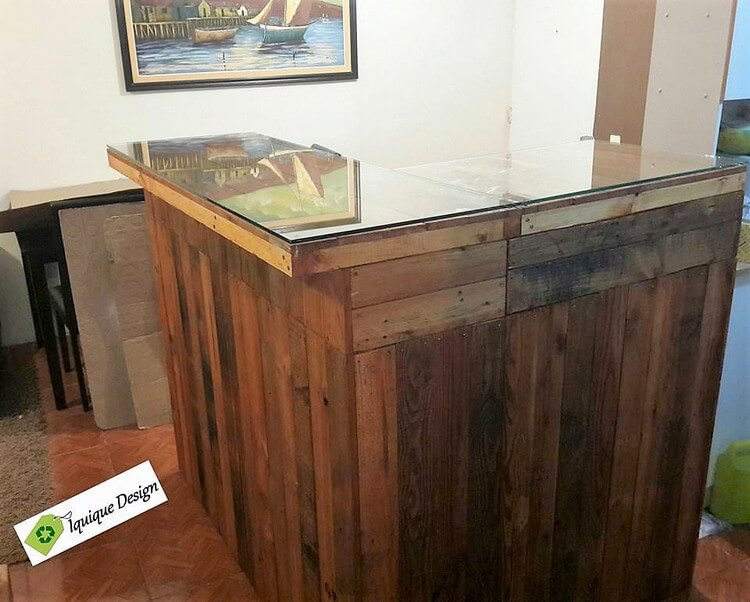 Pallet Counter Table with Glass Top