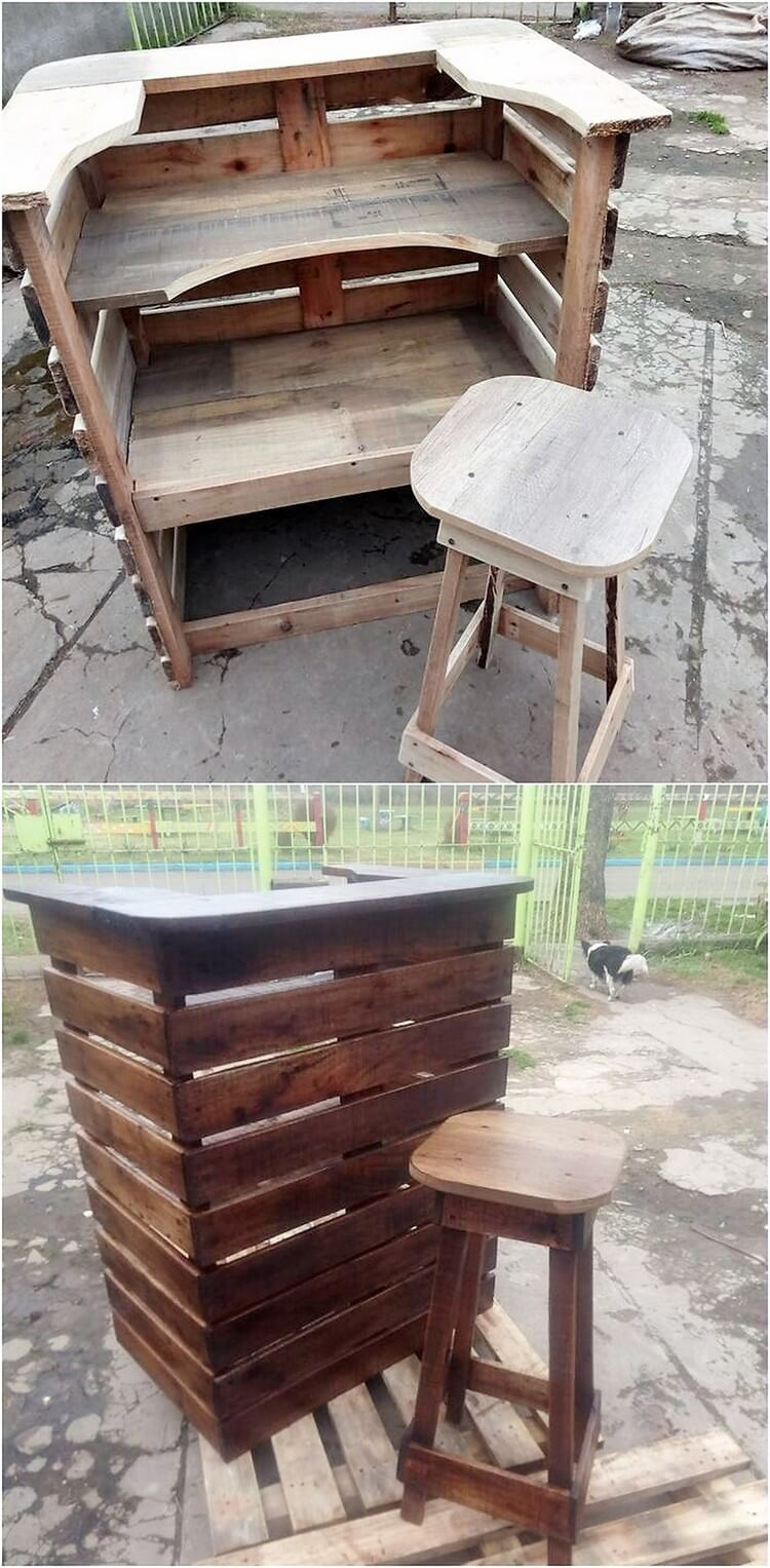 Pallet Counter or Bar Table and Stool