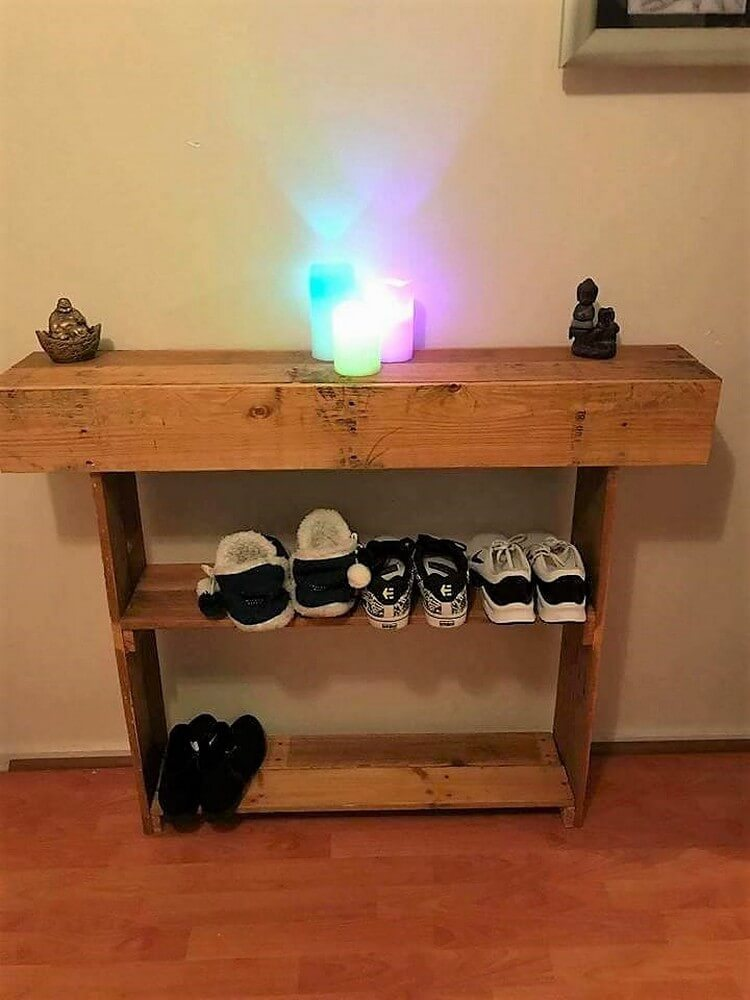 Pallet Entryway Table with Shoe Rack