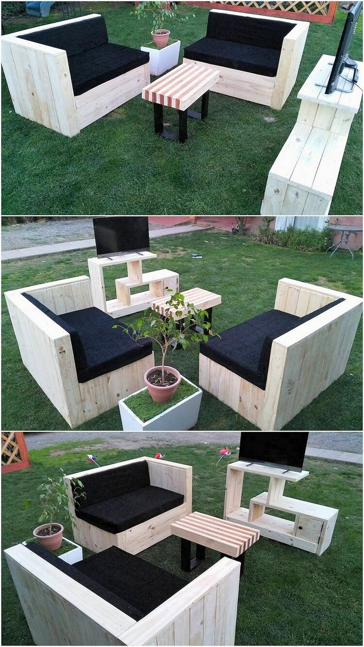 Pallet Garden Couch and Media Table