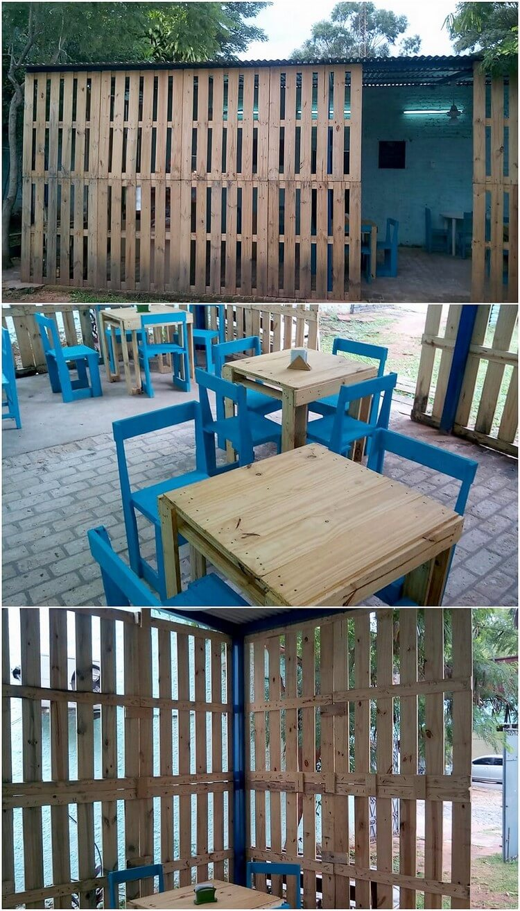 Pallet Garden Shed with Furniture