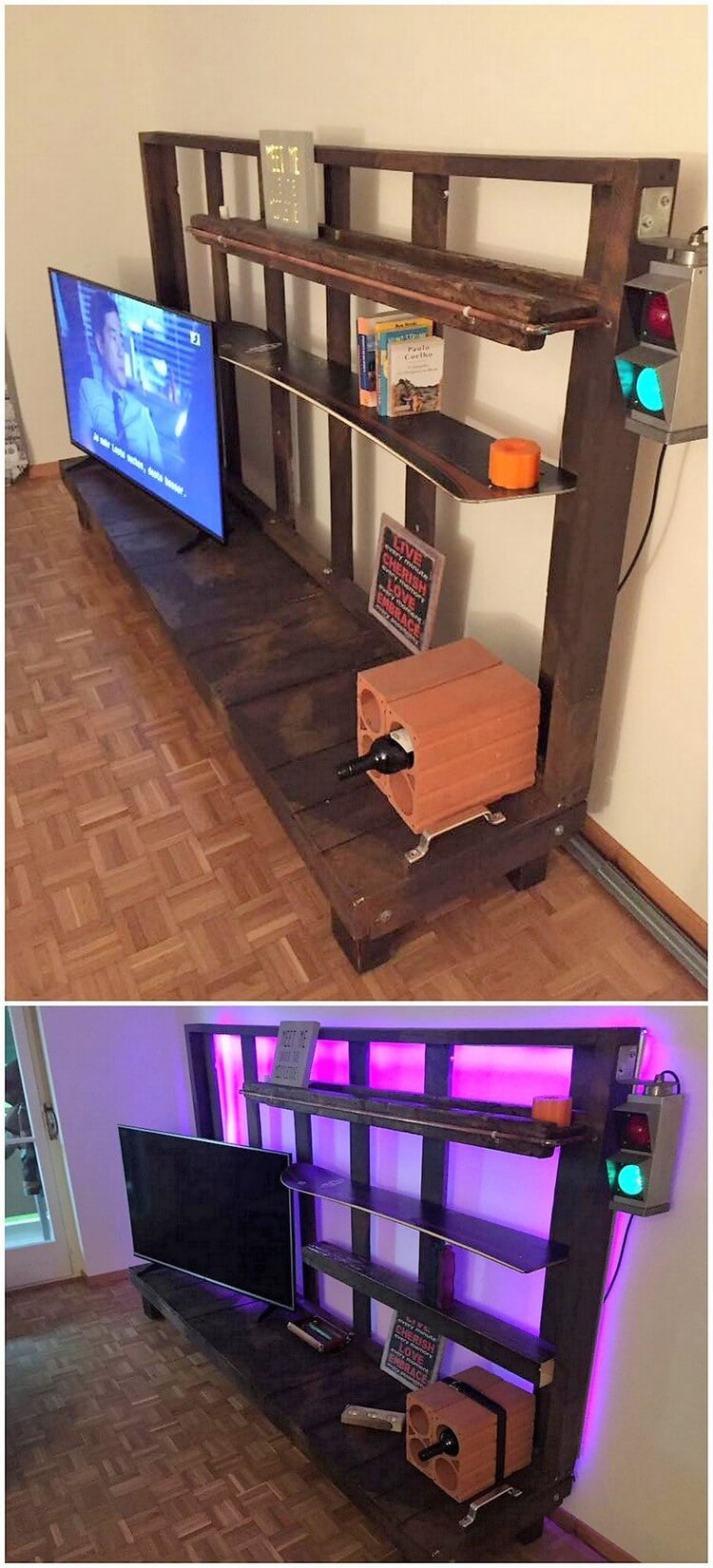 Pallet LED Stand Table