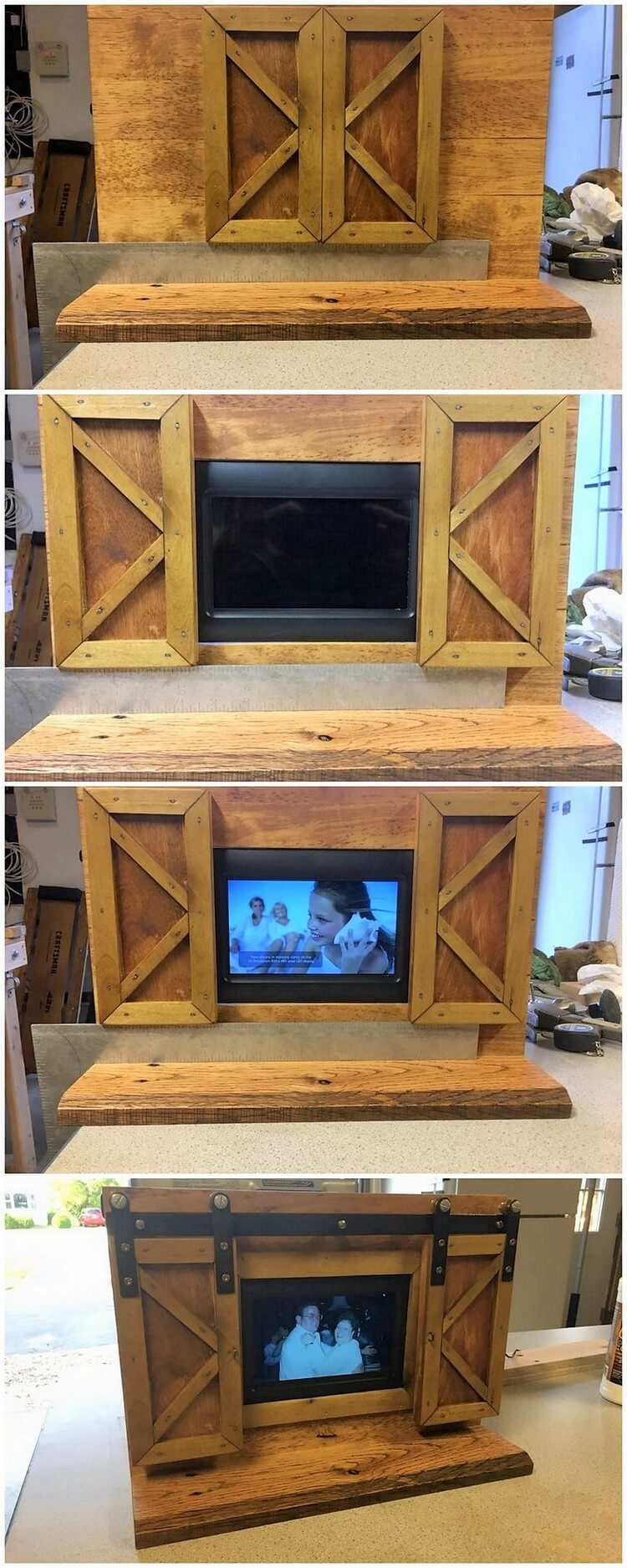 Pallet Media Cabinet with Sliding Doors