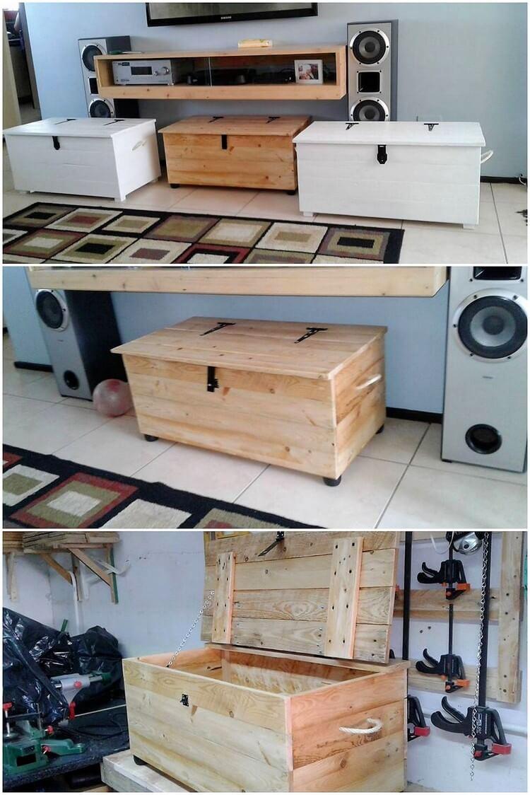 Pallet Media Shelf and Storage Box