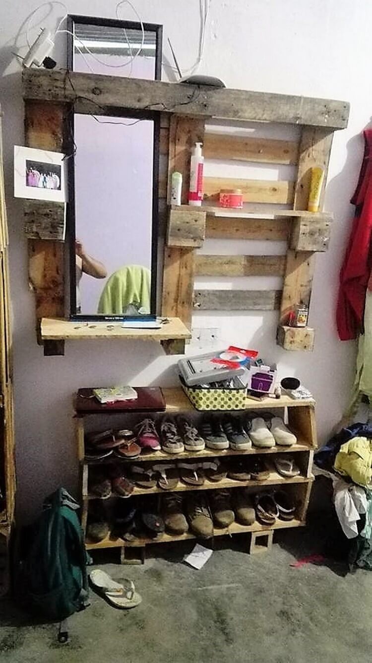 Pallet Mirror Frame with Shelf and Shoe Rack