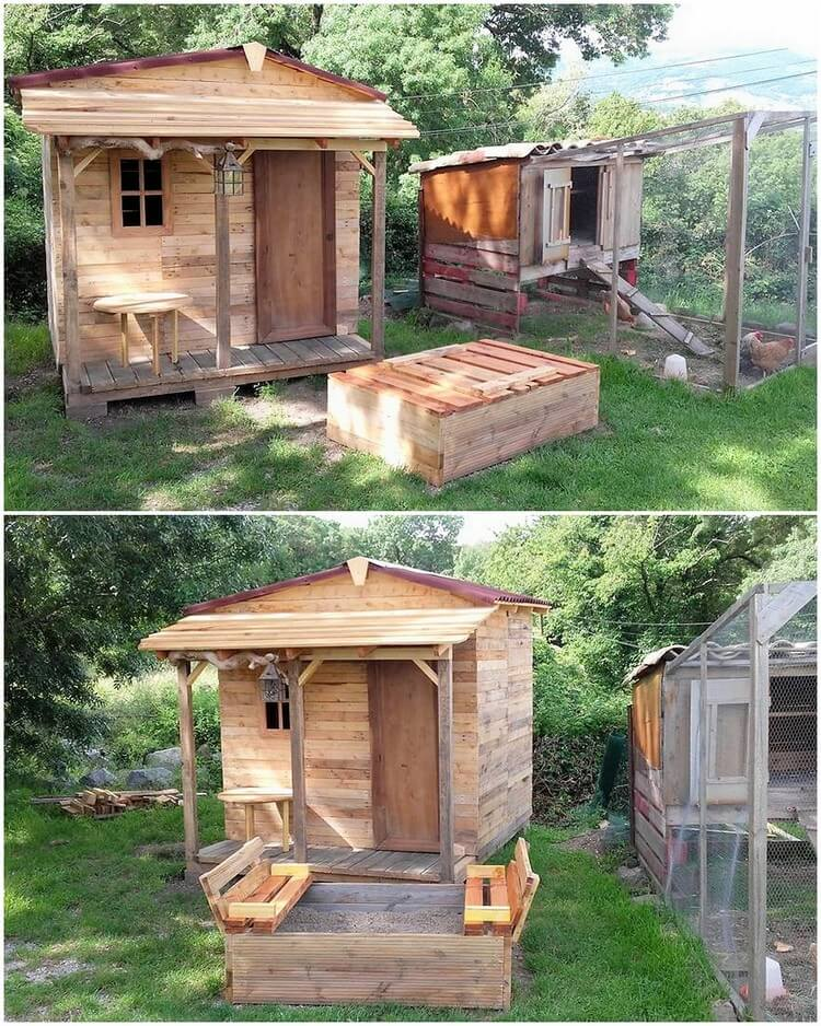 Pallet Playhouse and Sandbox for Kids