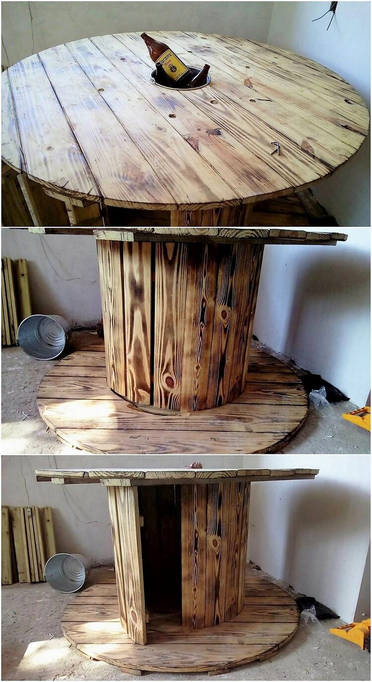 Pallet Round Table with Storage