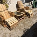 Pallet Sun Lounge Chairs and Table