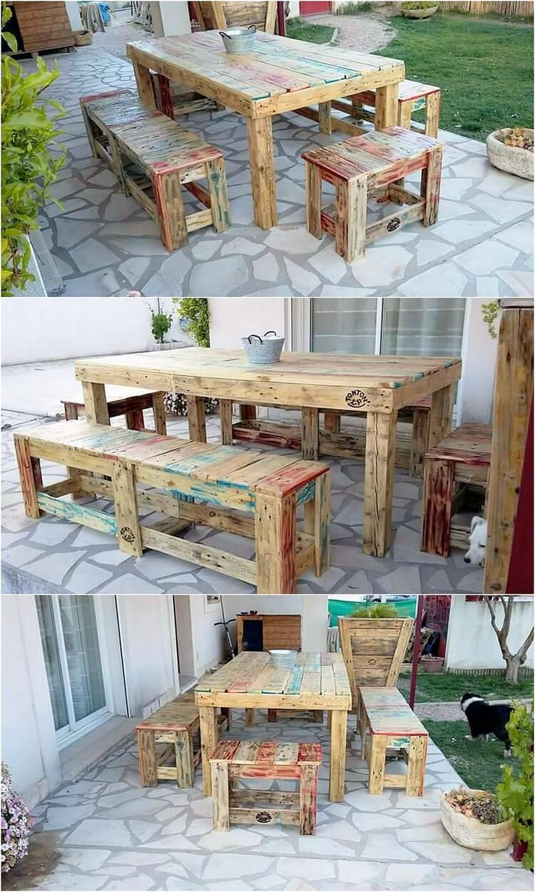Pallet Table and Benches Dining Furniture Set