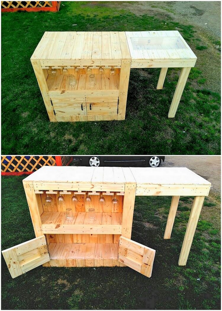 Pallet Table with Cabinet