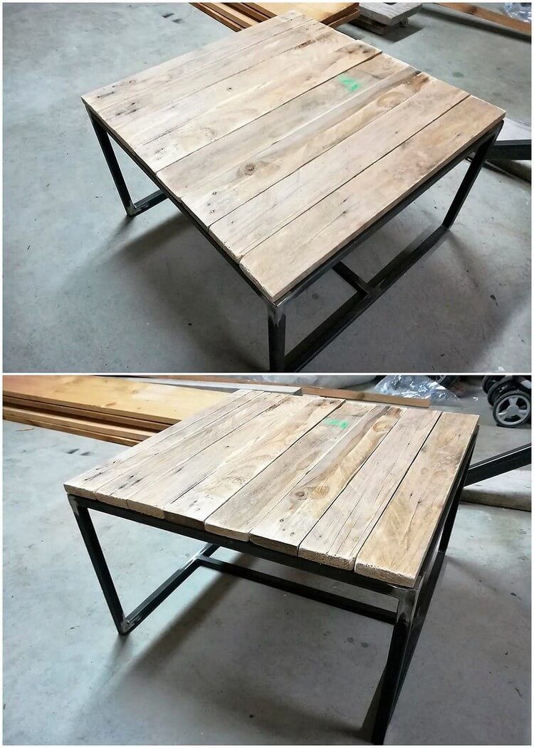 Pallet Table with Steel Feets