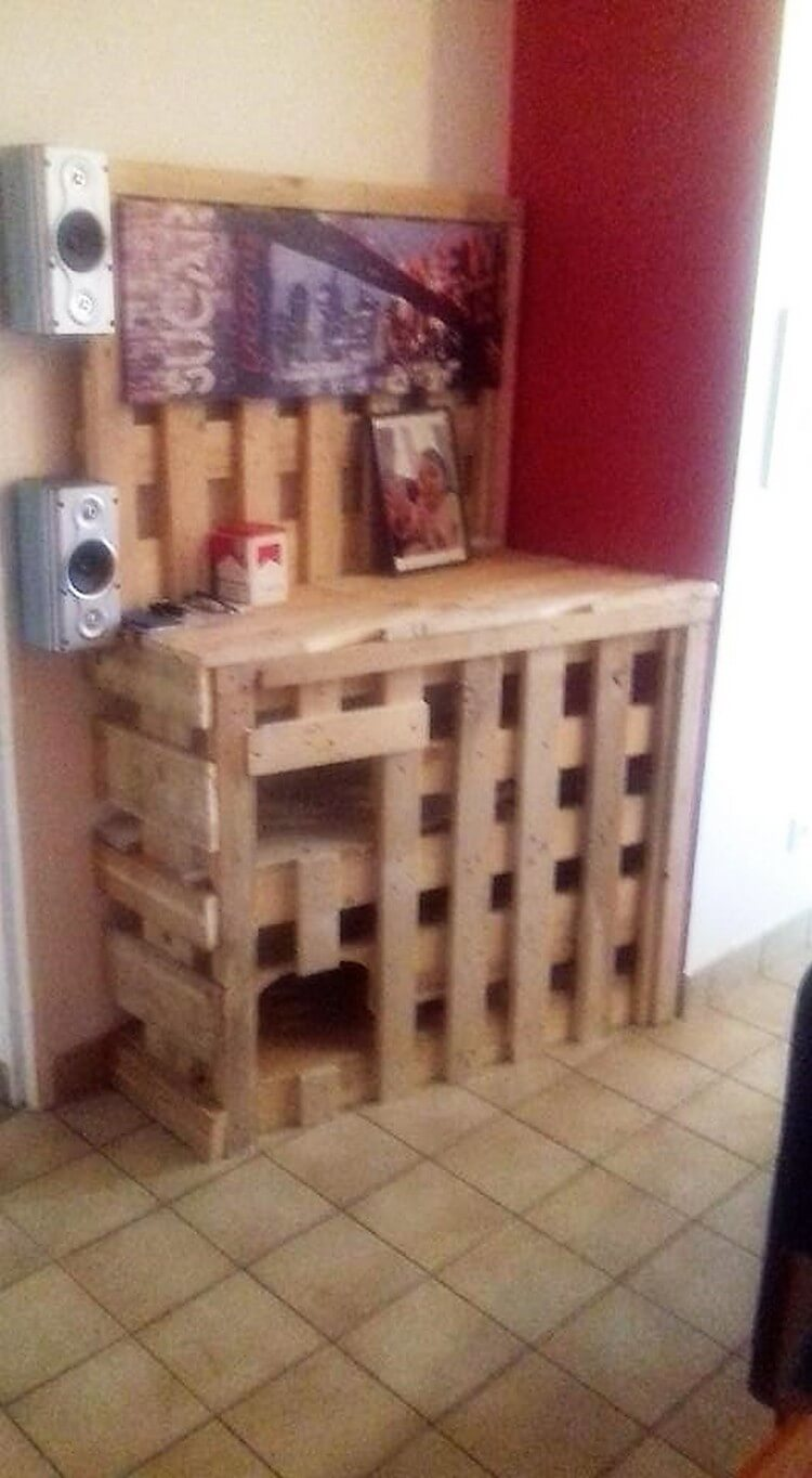 Pallet Wall LED Holder and Media Cabinet
