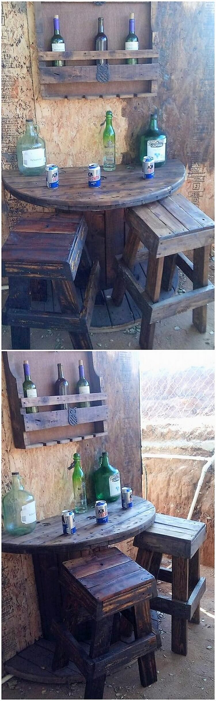 Pallet Wine Rack Round Table with Benches