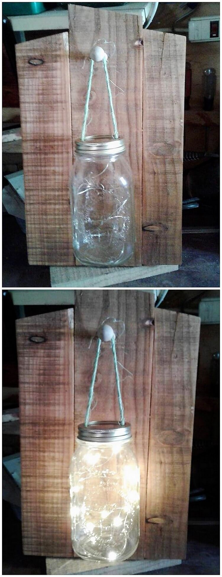 Pallet and Mason Jar Lamp