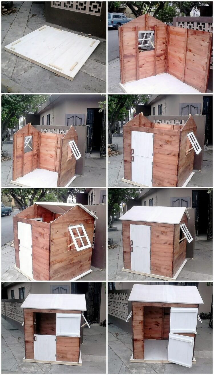Recycled Wood Pallet Little Playhouse for Kids