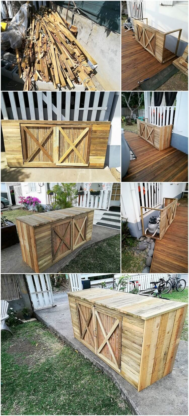 Recycled Wood Pallets Furniture to Hide Pool Pump