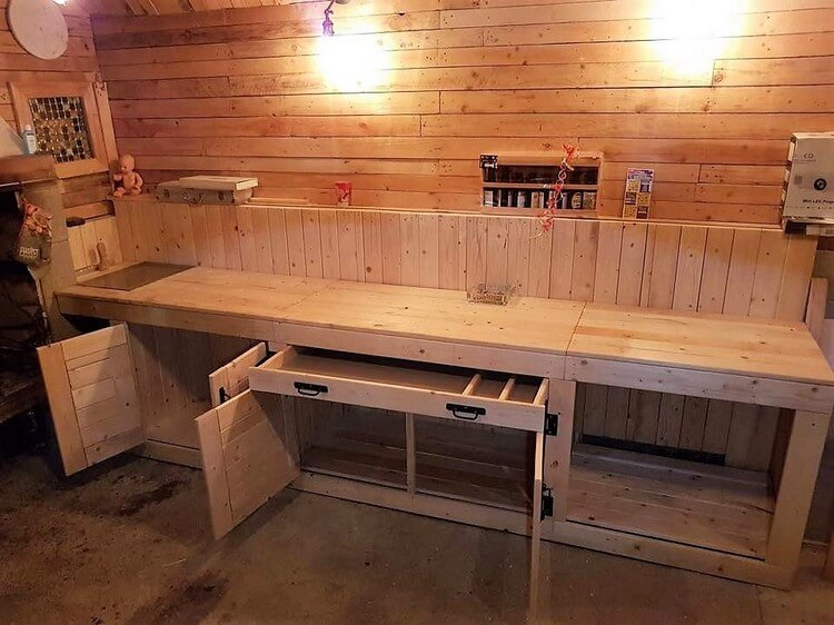 Wood Pallet Mud Kitchen Cabinets