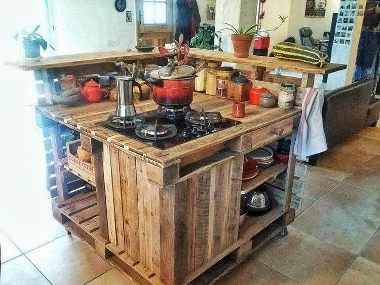 DIY Pallet Kitchen Island | Pallet Wood Projects