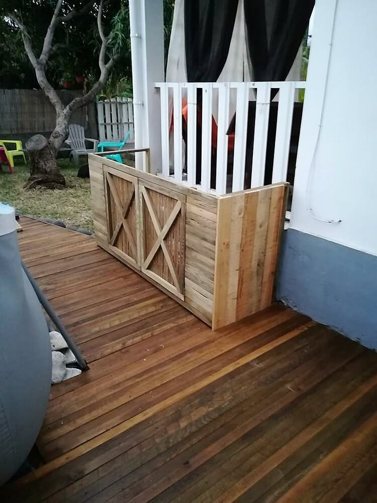 Wooden Pallets Made Pool Pump Furniture
