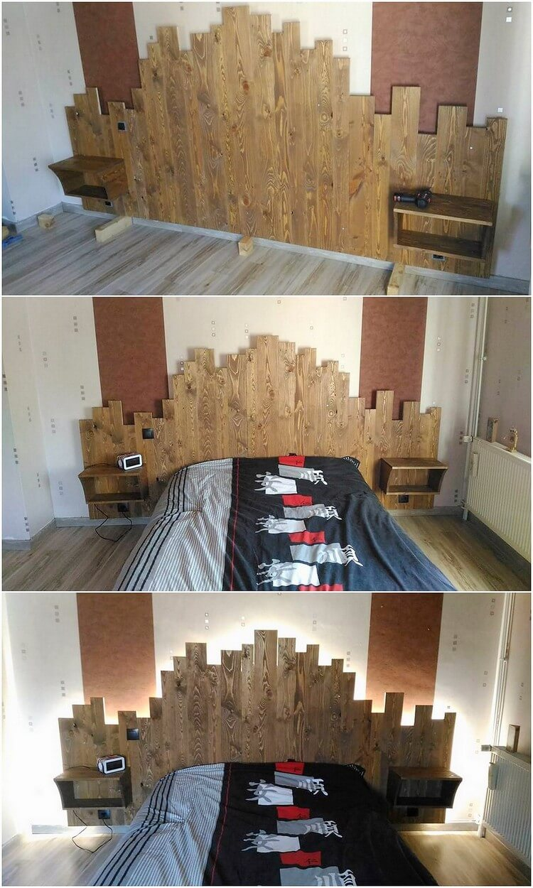 DIY Pallet Bed Headboard with Lights (2)