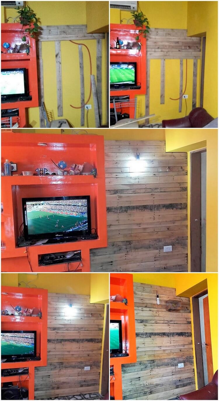 DIY Wood Pallets Wall Paneling