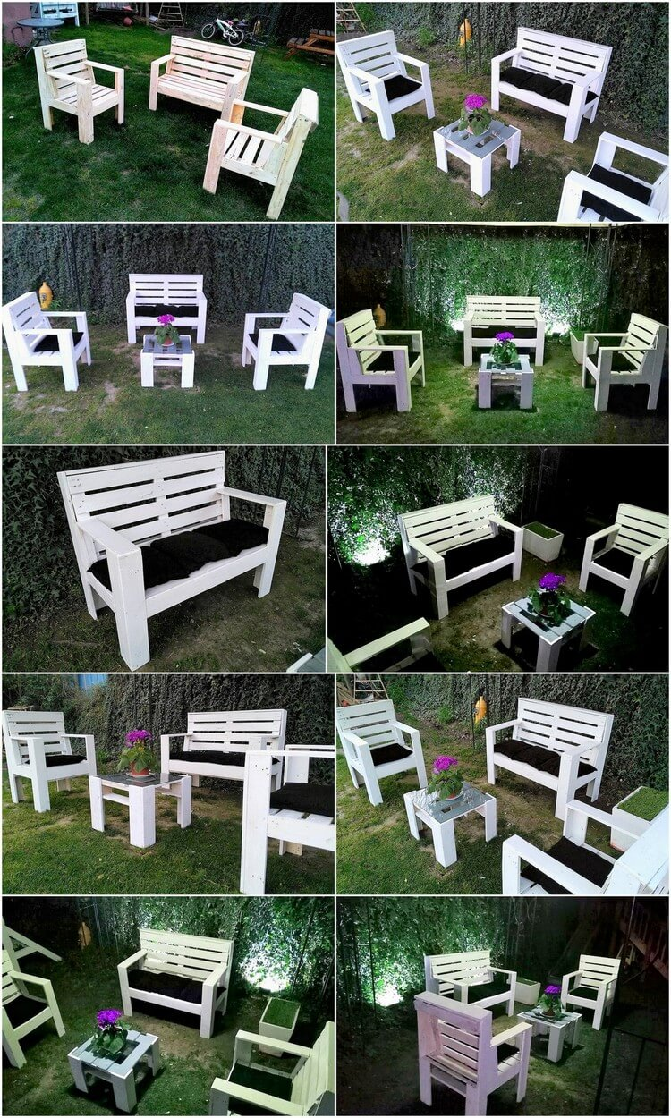 Outstanding Wood Pallets Garden Furniture Set