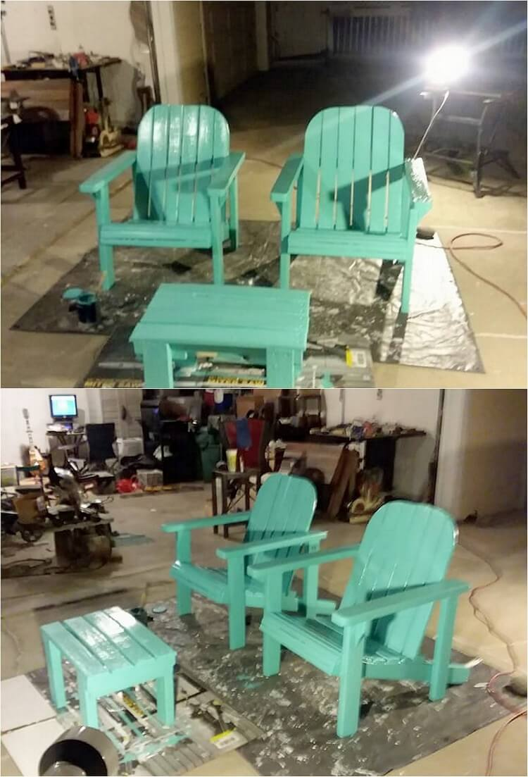 Pallet Adirondack Chairs and Table