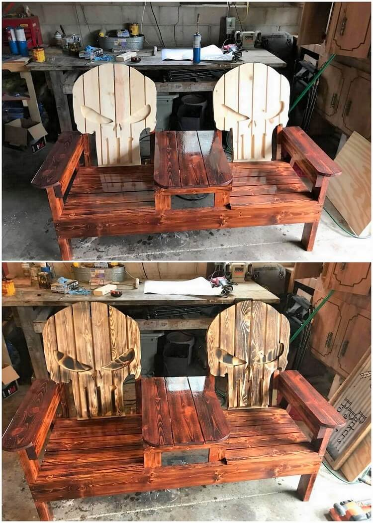 Pallet Attached Double Chairs