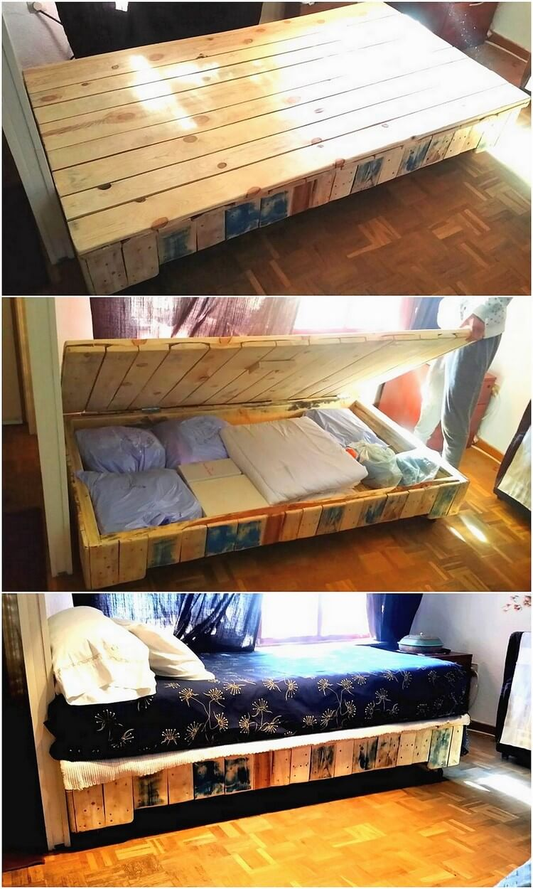 Latest and easy diy wood pallet ideas you 39 ll love to make for Pallet bed with storage
