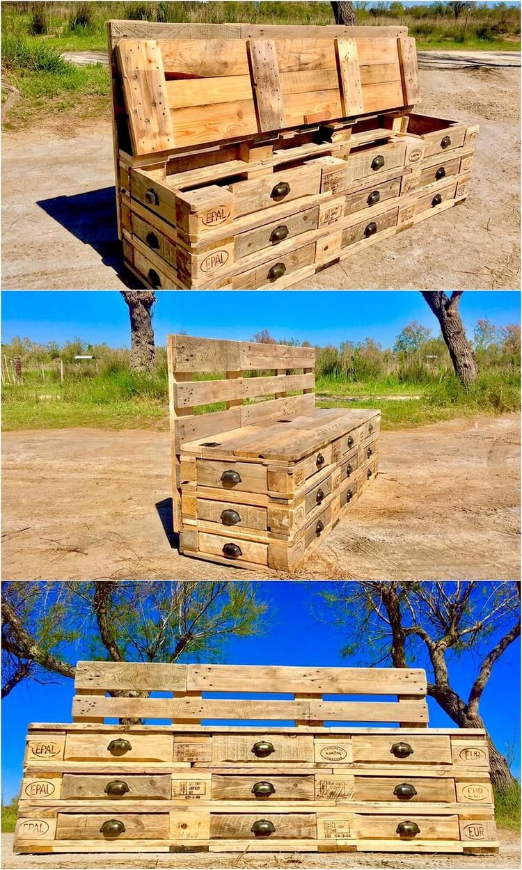 Pallet Bench with Storage and Drawers