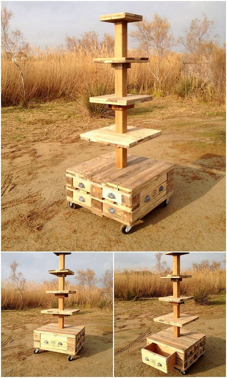 Deck Made with Pallets and Old wood Logs - Easy Pallet Ideas  Easy Wood Projects From Pallets