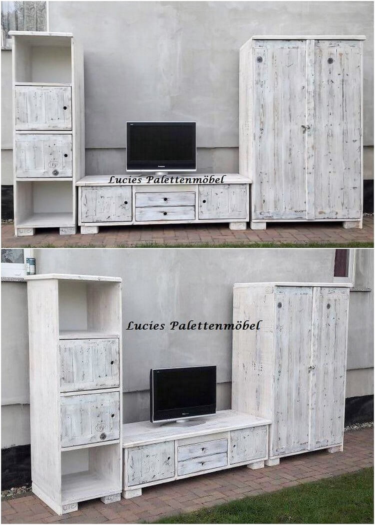Pallet Cupboard and Media Table Cabinet