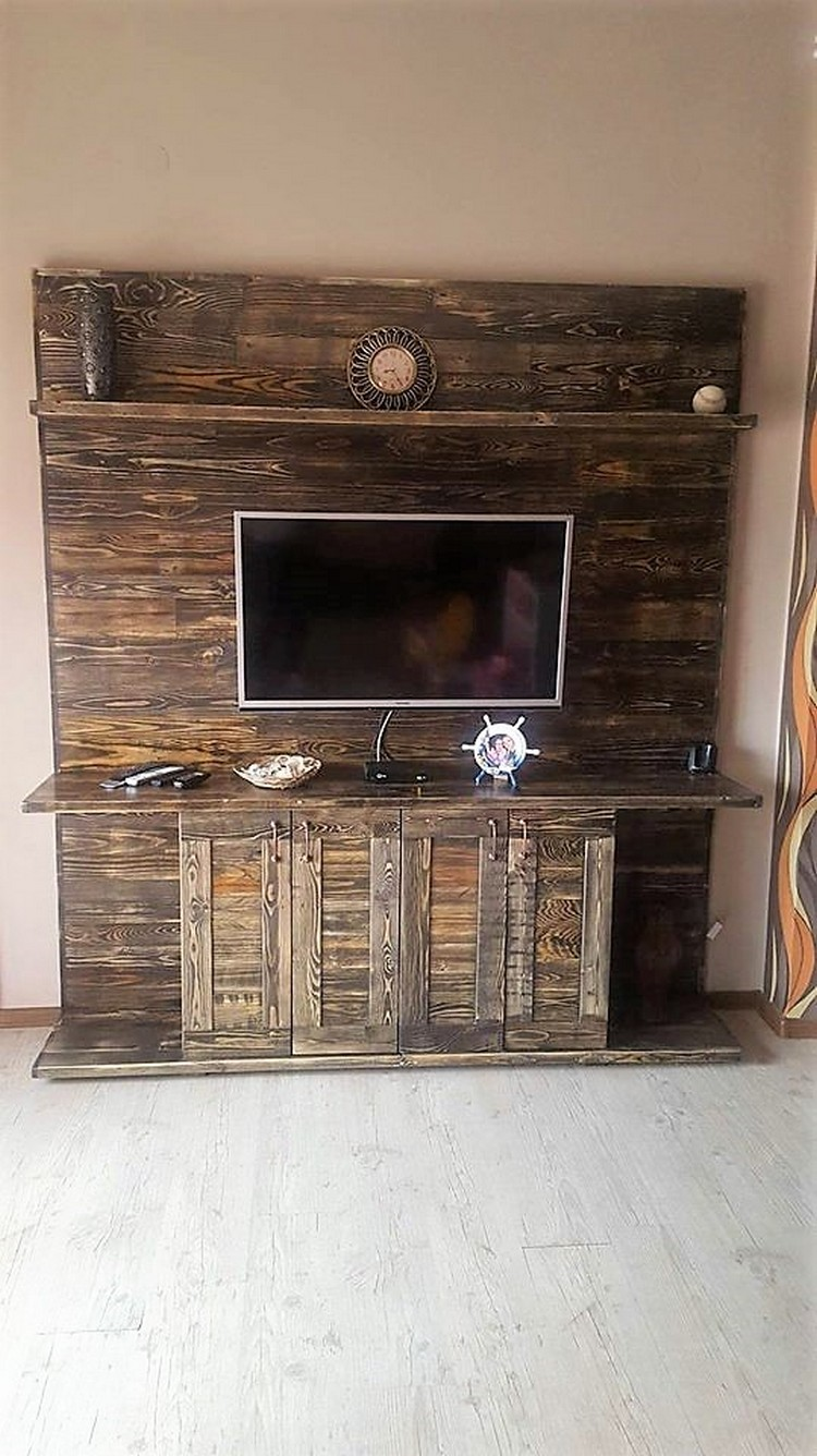 Wood Pallets Made Entertainment Center Tv Stand Pallet